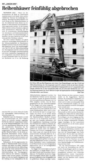 In Mannheim setzt SER auf Bagger von Case und auf Abbruchgeräte von Steck.
