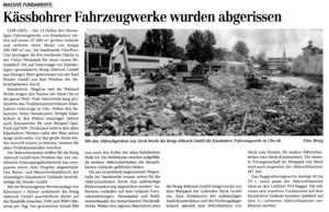 Die Kässbohrer Werke in Ulm reißt die Braig GmbH aus Ehingen ab.