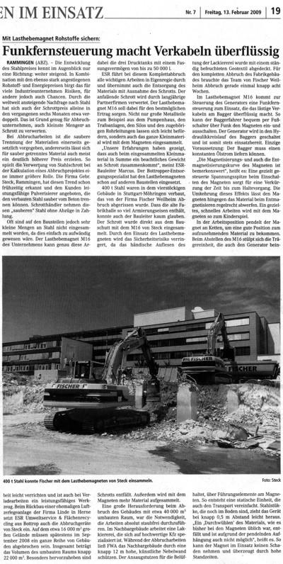 Mit Steck Lasthebemagnet Rohstoffe sichern