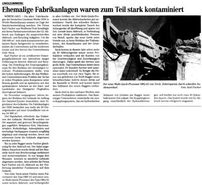 ABZ 12/05: 340.000 Kubikmeter umbauten Raum brachen die Unternehmen Karl Fischer und GL-Abbruch auf dem Gelände der DLW in Wörth ab
