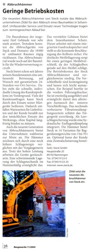 Mit den aktuellen Abbruchgeräten aus dem Steck Mietpark riss Zlöbl einen Baumarkt in Schorndorf ab.