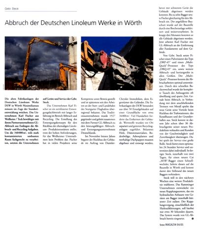 Abbruch der Deutschen Linoleum Werke