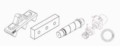 Ersatzteile: Zähne, Zahnreihe, Messer, Bolzen, Drehkranz und Hydraulikmotor         passend zu Abbruchschere Demarec