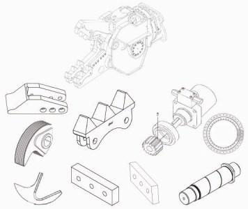 Ersatzteile: Zähne, Zahnreihe, Messer, Bolzen, Drehkranz und Hydraulikmotor         passend zu Abbruchschere Steck