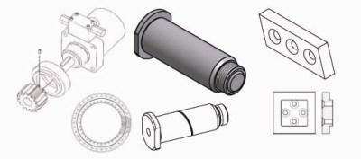 Ersatzteile: Drehdurchführung, Drehmotor, Drehkranz, Messer und Bolzen passend zu Schrottschere Verachtert