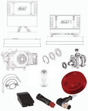 Ersatzteile: Generator, Hydraulikmotor, Magnetplatte, Bolzen, Druckerwaage, Greifersteuerung, Funkmodem und Fußschalter
