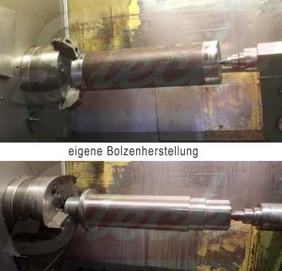 Eigene Bolzenherstellung bei Steck Abbruchgeräte.