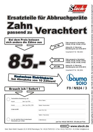Verachtert Angebot / freie bauma Eintrittskarte